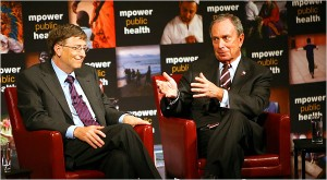Bill Gates and New York Mayor Michael R. Bloomberg announced their anti-smoking initiative on Wednesday in New York.