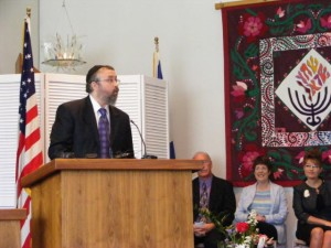 Rabbi Yosef Greenberg speaking on Jun of 2008 as Gov. Palin [seen in photo] signs bill on the 60th Aniv. of Israel