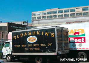Photo Credit: Forward - A delivery truck waits outside the Agriprocessors warehouse in the Sunset Park area of Brooklyn.