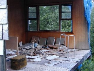 Five years after our hotel closed, this was Sol and Sarah Alperns room, right before demolition. Theres something symbolic about the wreckage, in restrospect. It sums op Alpern/Madoff experience.
