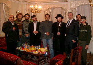 Viennese Rabbi Moishe Arye Friedman, fourth from right, receives Iranian Jewish visitors during his December 2006 trip to Iran for a Holocaust denial conference.