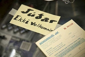 A sign in a bicycle shop in Reykjavik, Iceland, announcing that Jews are not welcome. And no doubt the Jews are also to blame for the collapse of the country's financial system.