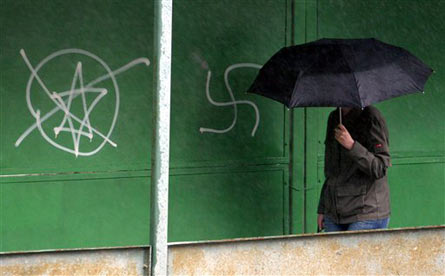 Anti-Semitic Graffiti in Kiev, Ukraine (file photo)