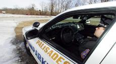 Parkway Police Officer Matthew Levine on radar patrol. Pending legislation would disband the department.