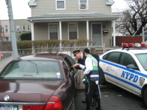 NYPD inspects the vehicle [photo credit Chesed Shel Emes]