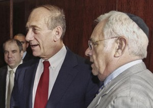 Ehud Olmert and Morris Talansky [right] in 2003.