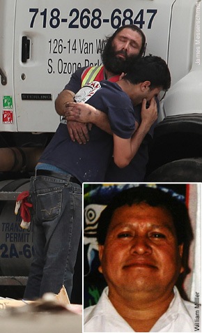 Yigal Lalush a partner comforts the son of Shlomo Dahan, who died yesterday with another son, Harel (inset left), and Rene Francisco Rivas (inset right) at Regal Recycling in Queens.