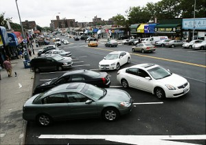 Newly painted vertical parking opposite to the flow of traffic causes difficulties for drivers to park along 108th Street near 65th Avenue in Forest Hills, Queens Photo Credit: DelMundo for NY Daily News