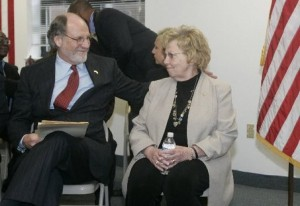 New Jersey Gov. Jon Corzine talks with state Sen. Loretta Weinberg at a Bergen County meeting in 2007. Photo Credit: George McNish/The Star-Ledger