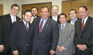 Bottom Row, L-R: Rabbi Eliezer Zwickler, Congregation AABJD; Chris Christie; OU Deputy Director of Public Policy Howie Beigelman; Steven Sholk, OU Public Affairs Commission.  Top Row, L-R: Ari Fuchs, OU VP, New Jersey Region; David Fisher; Martin Fineberg, OU Public Affairs Commission; Rabbi Steven Burg, International Director, NCSY/OU Director of Program Development.
