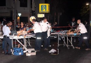 Go to Article  Israeli paramedics treat victims after a shooting incident in a basement club in central Tel Aviv August 1, 2009.