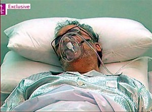 Released Lockerbie bomber Abdel Baset al-Megrahi, is seen in a hospital bed in Tripoli