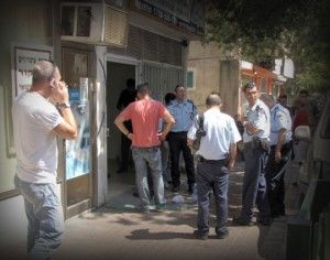 Israeli police in front of the store investigating