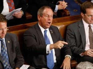 Rep. Joe Wilson (R-SC) shouts as U.S. President Barack Obama addresses a joint session of the U.S. Congress at the U.S. Capitol September 9, 2009 in Washington, DC. Obama addressed the joint session to urge passage of his national health care plan, the centerpiece of his domestic agenda.  (Photo by Chip Somodevilla/Getty Images)