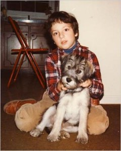Googles Billionaire Sergey Brin, 8, with the family dog, Boss, in Maryland, two years after the Brins left the Soviet Union for the United States. Photo: NY Times