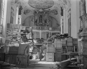 This photo from April 4, 1945, shows German loot stored in church at Ellingen, Germany, found by troops of the U.S. Third Army. It is an example of the images and documents on Footnote.com new Holocaust Collection site. (Courtesy of Footnote.com)