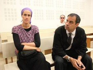 Mrs. Teitel in court room as her husband Yaakov not pictured facing a judge being accused as a terrorist
