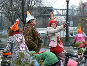 Bike clowns plan Ride at a Vigil for the bike lane at Bedford Ave & Wallabout St