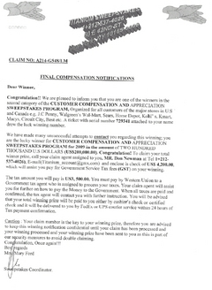 A sample of the letter victims are receiving.