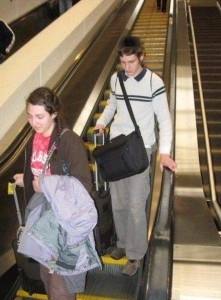 Calev and sister daliae arrive at the airport in Louisville, Kentucky