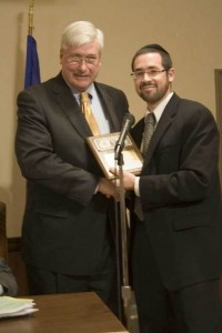 Rabbi Joshua Hess (right) of Congregation Anshe Chesed in Linden with Cranford Mayor Mark Smith