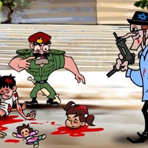 A new Gaza TV cartoon features a giant-nosed Jewish villain slaughtering kids as a Palestinian Authority cop does nothing.