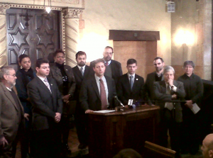 Councilman Brad Lander speaking at the press conference, along with Brooklyn Borough President Marty Markowitz, Congresswoman Yvette D. Clarke, counilman Steven Levin and  Fred Kreizman, Assistant Commissioner of the Mayor's Community Assistance Unit.