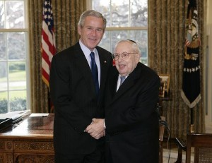 Dr. Bernard Lander, founder and president of Touro College, meeting with former President George W. Bush in the Oval Office during a visit of Jewish leaders from the community of higher education to the White House on December 18th. 2006