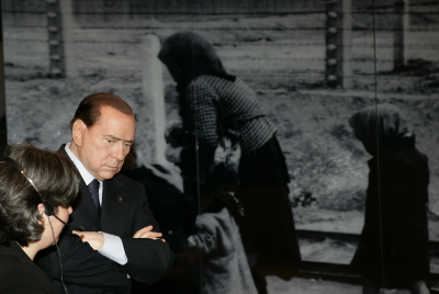 Italian Prime Minister Silvio Berlusconi visiting the Yad Vashem Holocaust memorial museum in Jerusalem, on  February 1, 2010.photo by Abir Sultan /Flash 90