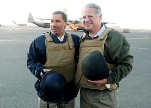 Governor David Paterson in this File photo in 2008 on his first trip to Iraq, accompanied by Rep. Steve Israel. Israel is calling on the Gov. to drop out of the race
