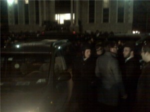 The Levay'a in front of Nikulsburg Shul in Monsey,NY