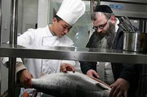 Rabbi Freundlish gives the Hechser for Dini's Kosher Restaurant in Beijing, China, says he will now give Kosher certification for Milk