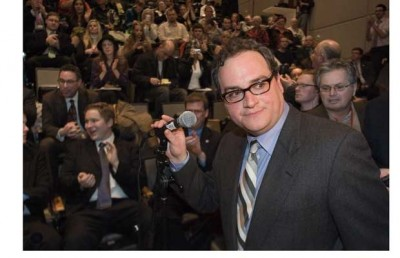 A disappointed Ezra Levant, who was supposed to introduce Ann Coulter for her speech in Marion Hall at the University of Ottawa, had to instead announce that protesters had managed to have the speech cancelled due to security concerns. Photograph by: Wayne Cuddington, The Ottawa Citizen