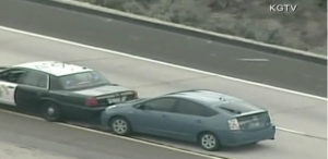 A California Highway Patrol officer helped slow a runaway Toyota Prius from 94 mph to a safe stop on Monday after the car's accelerator became stuck on a San Diego County freeway