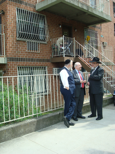 In the undated picture L to R: Rabbi Chaim Israel, Executive Director of SEBCO, Joe  Lazar, Rabbi Shmuel Lefkowitz, former Executive Director Southern Brooklyn Development Organization.(SEBCO).