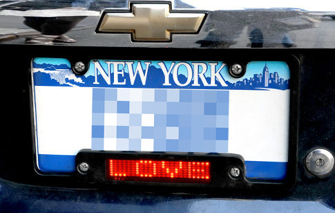 new york ny a new vanity license plate frame causing double takes on city streets features a scrolling message board kind of like a nasdaq ticker for