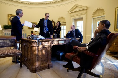 FILE - President Barack Obama, from left, Chief of Staff Rahm Emanuel, Senior Advisor David Axelrod (Official White House Photo by Pete Souza)