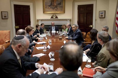FILE - President Barack Obama meets with Jewish Community Leaders in the Roosevelt Room at the White House, July 13, 2008. Amongst at the table is J Street Executive Director Jeremy Ben-Ami (Official White House Photo by Pete Souza)