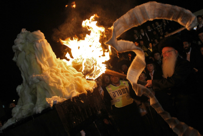 Ultra Orthodox Jews celebrate the Jewish holiday of Lag Baomerby a bonfire in the settlement of Betar Illit , 01 May 2010. Lag Baomer commemorates the death of Rabbi Shimon Bar Yochai, one of the most important sages in Jewish history 1800 years ago.  Photo by Nati Shohat/Flash90