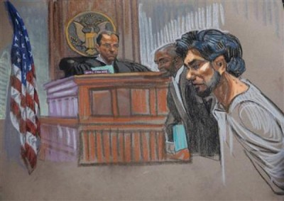 Suspected Times Square bomber Faisal Shahzad makes his first court appearance since his arrest two weeks ago, as seen in this courtroom sketch, May 18, 2010. Credit: REUTERS/Christine Cornell