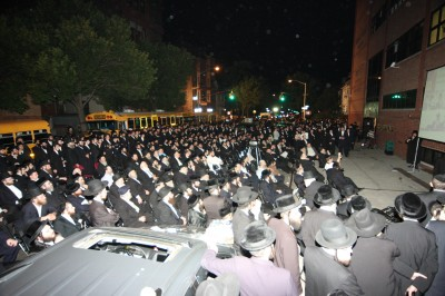 video screens were set up on the street to accommodate the overflow. Credit Dee Voch