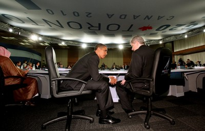 President Brack Obama and Canadian Prime Minister Stephen Harper chat before the start of opening session at the G-20 in Toronto,