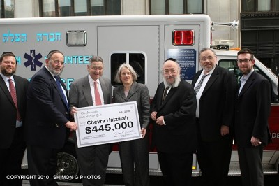 Pictured (l.to r.) Chaskel Bennett, local Hatzalah volunteer, Rabbi David Cohen, CEO of Chevra Hatzalah,Assembly Speaker Sheldon Silver, Assemblywoman Helene Weinstein, Mr. Heshy Jacobs,President of Chevra Hatzalah, Isaac Unger, Coordinator for Flatbush Volunteers of Hatzalah, and Raphael Treitel, local Hatzalah volunteer.