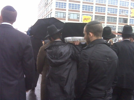 The funeral today in front of Shomrai Hadas Chapel