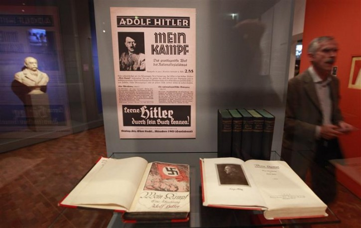 "Copies of Adolf Hitler's book ""Mein Kampf"" (My Struggle) are pictured at the media preview of ""Hilter und die Deutsche Volksgemeinschaft und Verbrechen"" (Hitler and the German Nation and Crime) at the Deutsche Historisches Museum (German Historical Museum) in Berlin October 13, 2010. The exhibition will open to the public on October 15 and run till February 6, 2011.  REUTERS/Fabrizio Bensch"