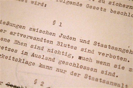 Archives Places Nazi Nuremberg Laws On Rare Display -- VosIzNeias ...