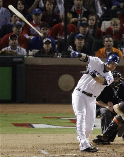 Texas Rangers' Josh Hamilton loses his bat during the sixth inning of Game 5 of baseball's World Series against the San Francisco Giants Monday, Nov. 1, 2010, in Arlington, Texas. (AP Photo/Eric Gay)