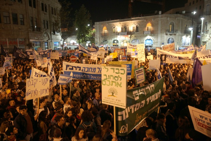 Thousands of Israeli students attend a mass rally in the center of Jerusalem on November 01, 2010, against a yeshiva student funding bill, meaning they would not receive the same support from the state as the yeshiva students. Photo by Yossi Zamir/Flash90.