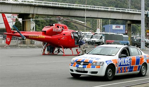 Picton police leave the Interislander Terminal as the Police Special Tactics Group (STG) prepare to leave in a HELiPRO helicopter.Blair Ensor