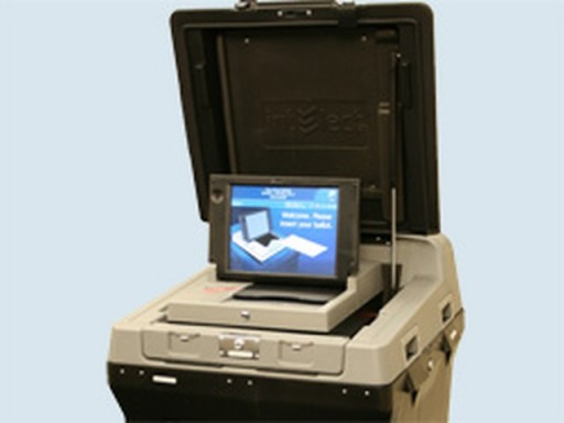 New York's new voting machines at a public demonstration tonight on the Upper West Side. (NY State Board of Elections)